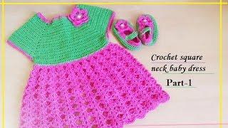 Crochet Square Neck Baby Dress-1