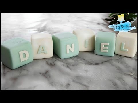 Fondant Baby name letter blocks tutorial 👶 Christening Baby shower cake