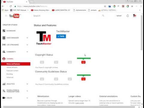 youtube tutorial hindi : How to Verify Your Youtube Channel and how to connect adsense to youtube