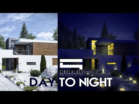 Day to night - Photoshop Architecture