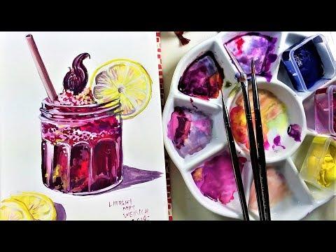 Mason jar drink in Gouache // Sketchbook Sunday!