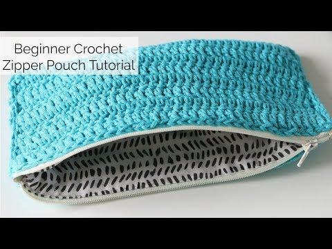 Beginner Crochet Zip Pouch Tutorial - No sewing machine