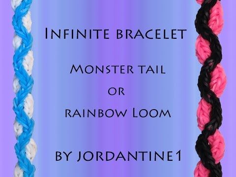 New Infinite Bracelet - Monster Tail or Rainbow Loom - Crossing Fishtail
