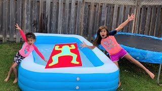 jumping through impossible shape challenge in swimming pool!