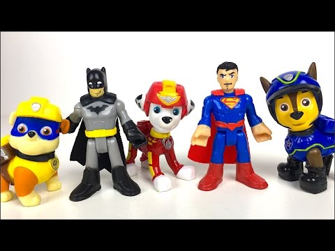 STORY WITH PAW PATROL CHASE & MARSHALL RESCUE BATMAN AND SUPERMAN - IMAGINEXT SUPER HERO FLIGHT CITY