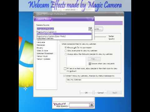 How to configure Yahoo Messenger webcam broadcasting with MagicCamera Virtual/fake Webcam software?