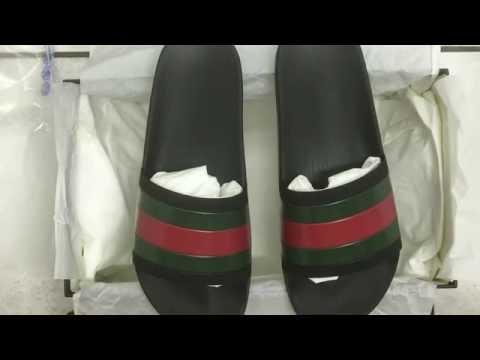 1af48f180d2fc Black Gucci Pursuit 72 Rubber Slide Sandal Unboxing