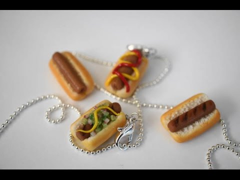 Miniature Hot Dog Tutorial, Polymer Clay Hot Dog Tutorial