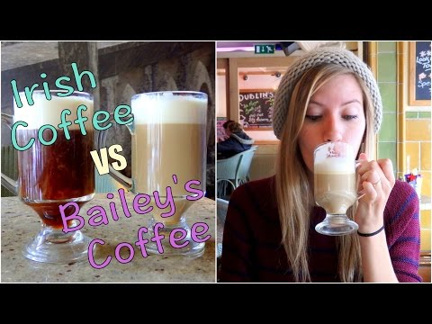 Irish Coffee with Jameson Irish Whiskey vs Baileys Irish Cream Coffee in Dublin, Ireland