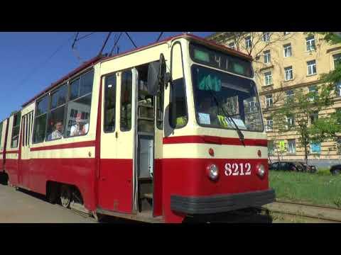 TRAMS IN ST PETERSBURG RUSSIA MAY 2018