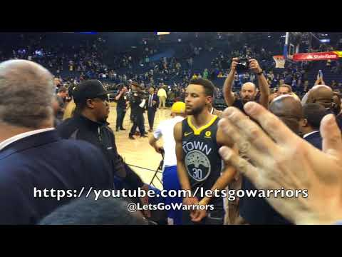 Views from Oracle Arena courtside, postgame: Steph Curry, Durant, Klay, Draymond, D.West