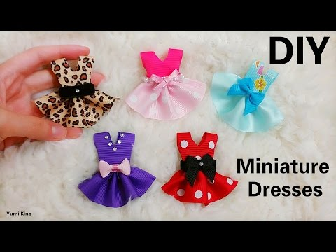 Creative DIY 5 Designs Miniature Dresses Out of Ribbons in Minutes(Super Easy)
