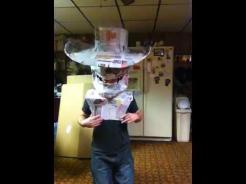 Giant paper mache Skull head cowboy