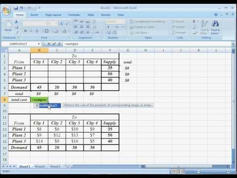 OR - MS Excel Solver _ Transportation Problem