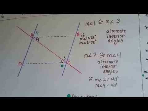 Grade 8 Math #11.1f, Transversals, Angle measures and a Parallelogram