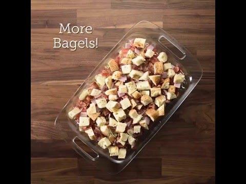 Double Bacon Bagel Egg Casserole