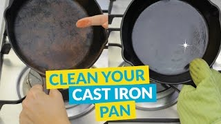 How To Clean And Season A Rusty Cast Iron Pan In Under A Minute