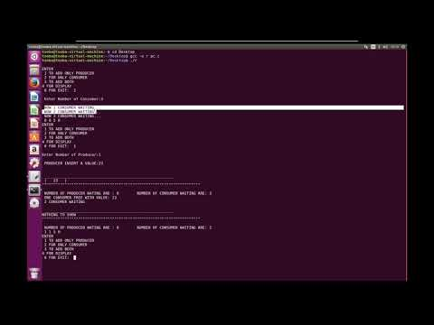 producer consumer with source code in C & implemented in Linux Terminal