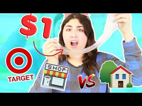 $1 TARGET SLIMES ~ store bought slimes vs home made slimes ~ Slimeatory #376