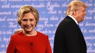 Presidential debate highlights: Clinton and Trump trade blows – video
