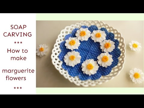 SOAP CARVING | How to carve and color marguerite flowers