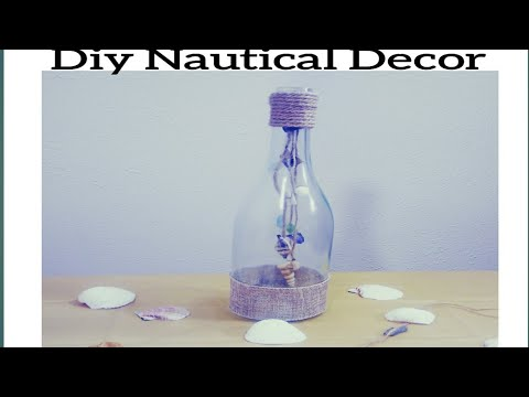 DIY QUICK AND EASY NAUTICAL DECOR MADE WITH WINE BOTTLE,SEASHELL.BURLAP AND ROPE.CHEAP BEACH DECOR