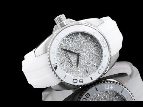 Invicta 22702 40mm Women's Angel Stardust Silver Sparkle Silicone Strap Watch