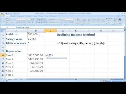 Finance in Excel 5 - Calculate Declining Balance Method of Depreciation in Excel