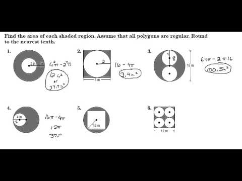 Worksheets Find The Area Of The Shaded Region Worksheet With Answers how to find the shaded area of a circle formula repair finding areas regions between polygons circles