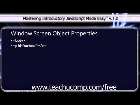 JavaScript Training Tutorial Window Screen Object Properties