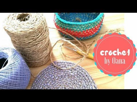 How to crochet on hemp cord baskets, carpets, table mats, ecc by Oana