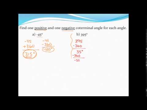 Finding coterminal angles (in degrees)