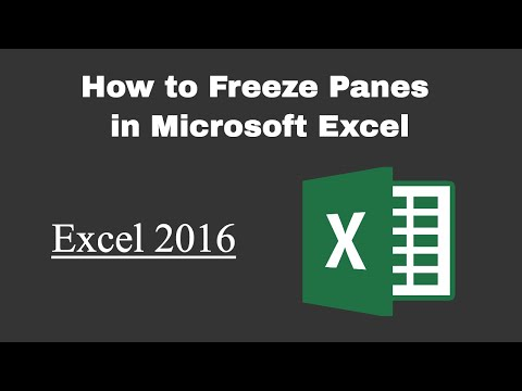 Freeze Panes in Excel 2016