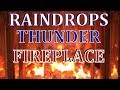8 hours 🔥 ambience  fireplace with gentle rain, raindrops and thunder