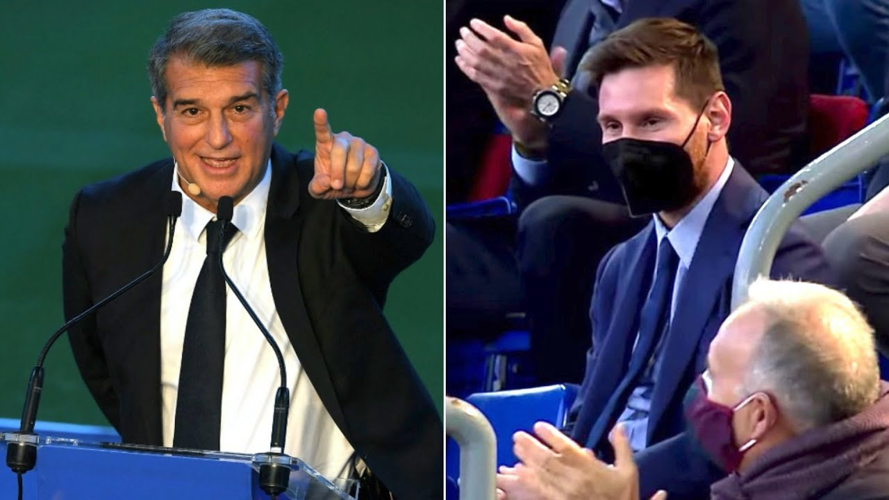 """Joan Laporta tells Lionel Messi he """"loves him"""" during Barcelona presidential inauguration"""