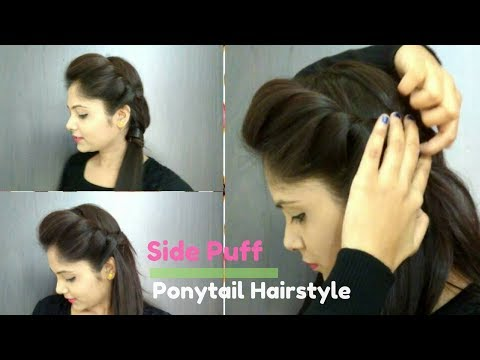 How to- Side Puff With Trick And Ponytail Hairstyle | Easy Side Puff For Medium/Long Hair