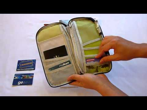 Travel passport wallet & document organizer bag - navy