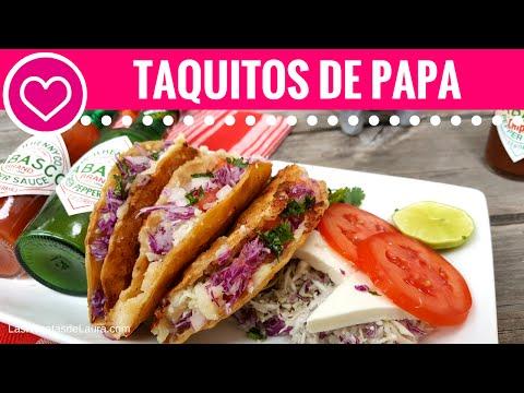 TACOS DORADOS de papa sin freir - Las Recetas de Laura ❤ Recetas de Comida Saludable