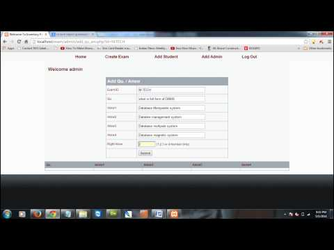 online exam System in php language may 2014 videio