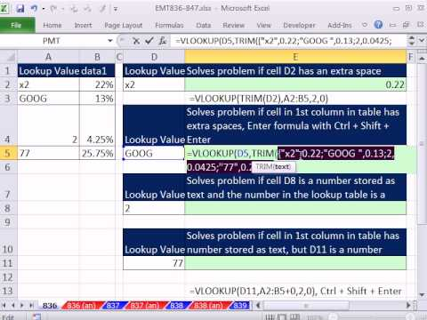 Excel Magic Trick 836: VLOOKUP Lookup Value Not Matching Value in 1st Column (4 Examples)