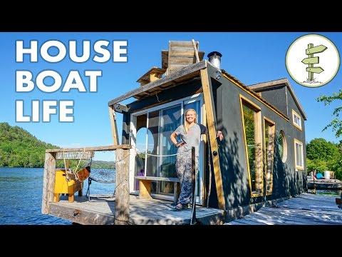 Living on a 4 Season Houseboat - Beautiful Floating Tiny House!