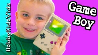 Old School Nintendo Game Boy! Collector Video Game Play with Tetris HobbyKidsVids