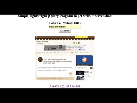 How to Take Screenshot of Website from URL using Jquery