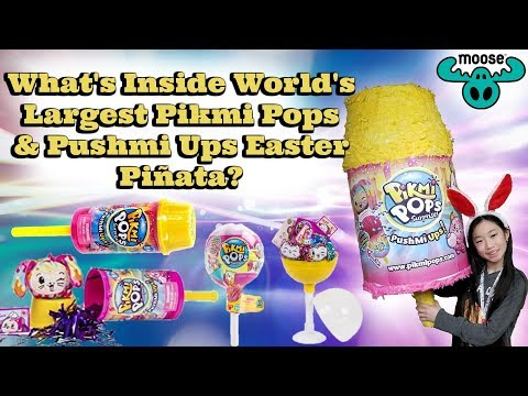 GIANT Piñata Full Of Pikmi Pops & Pushmi Ups Surprise Easter TOYS and CANDIES?!? Kawaii Squshies