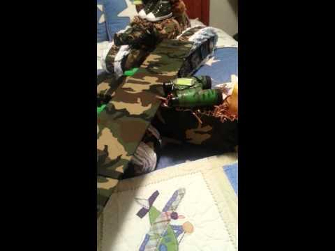 Camo Army Tank Diaper Cake and Camo Airplane