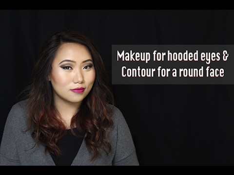 Eye makeup for hooded eyes + contour for a round face