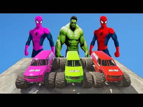 SPIDERMAN COLORS HULK VS MONSTER TRUCK FAIL COMPILATION superheroes fun w Nuresy Rhymes For Kids