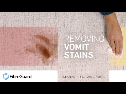 Removing vomit stains from textured fabric