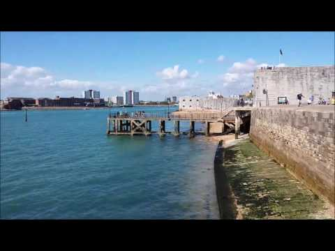 Southsea seafront walk from Eastney beach to Round Tower at Portsmouth harbour