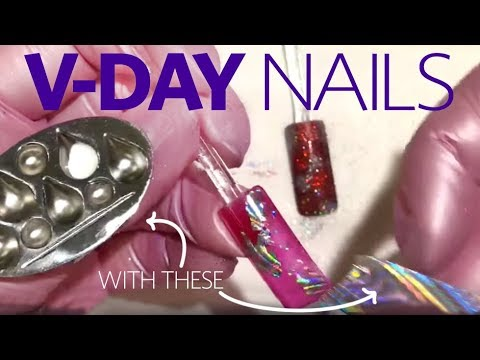 3 Easy Valentine's Day Nail Art Designs (Dotting Tool, Stamping, Foils)